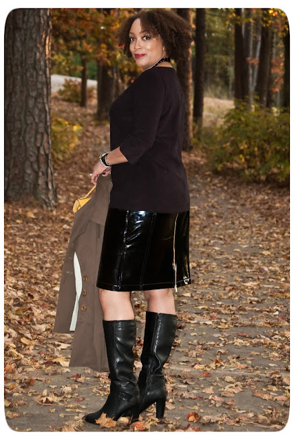 Vogue 8672: Shiny, Glossy, Patent-y Pencil Skirt | Donna Karan Black Faux Patent Leather from Mood Fabrics