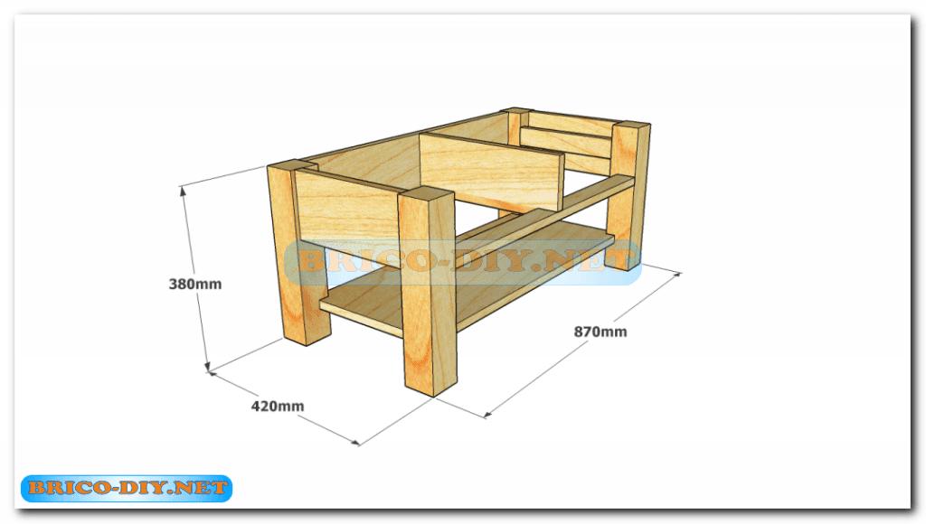 Plano como hacer mesa de centro madera web del bricolaje for Como hacer una puerta con tarimas