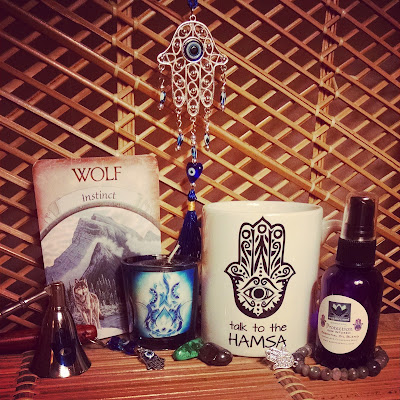Hamsa votive coffee mug wolf amulet gemstone crystal gypsy bracelet