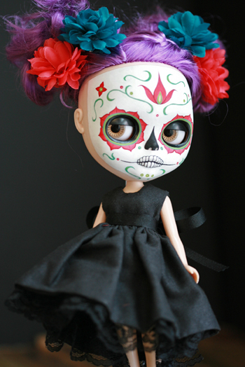 skull doll day of the dead melancholy kitties