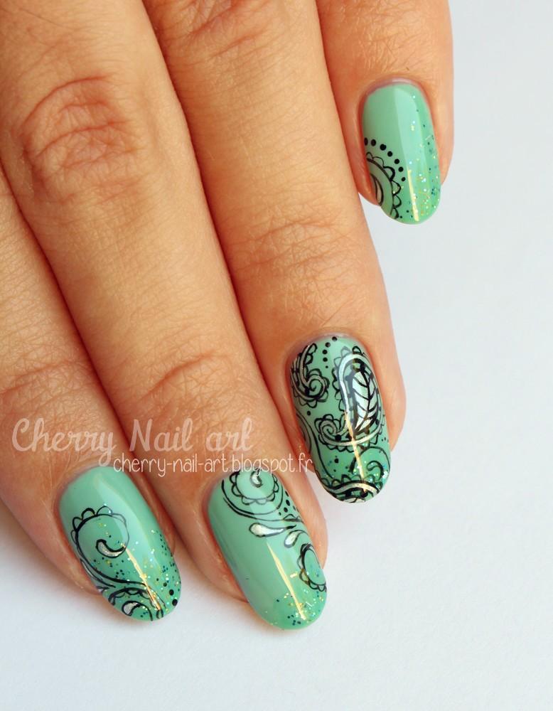 nail art imprimé cachemire