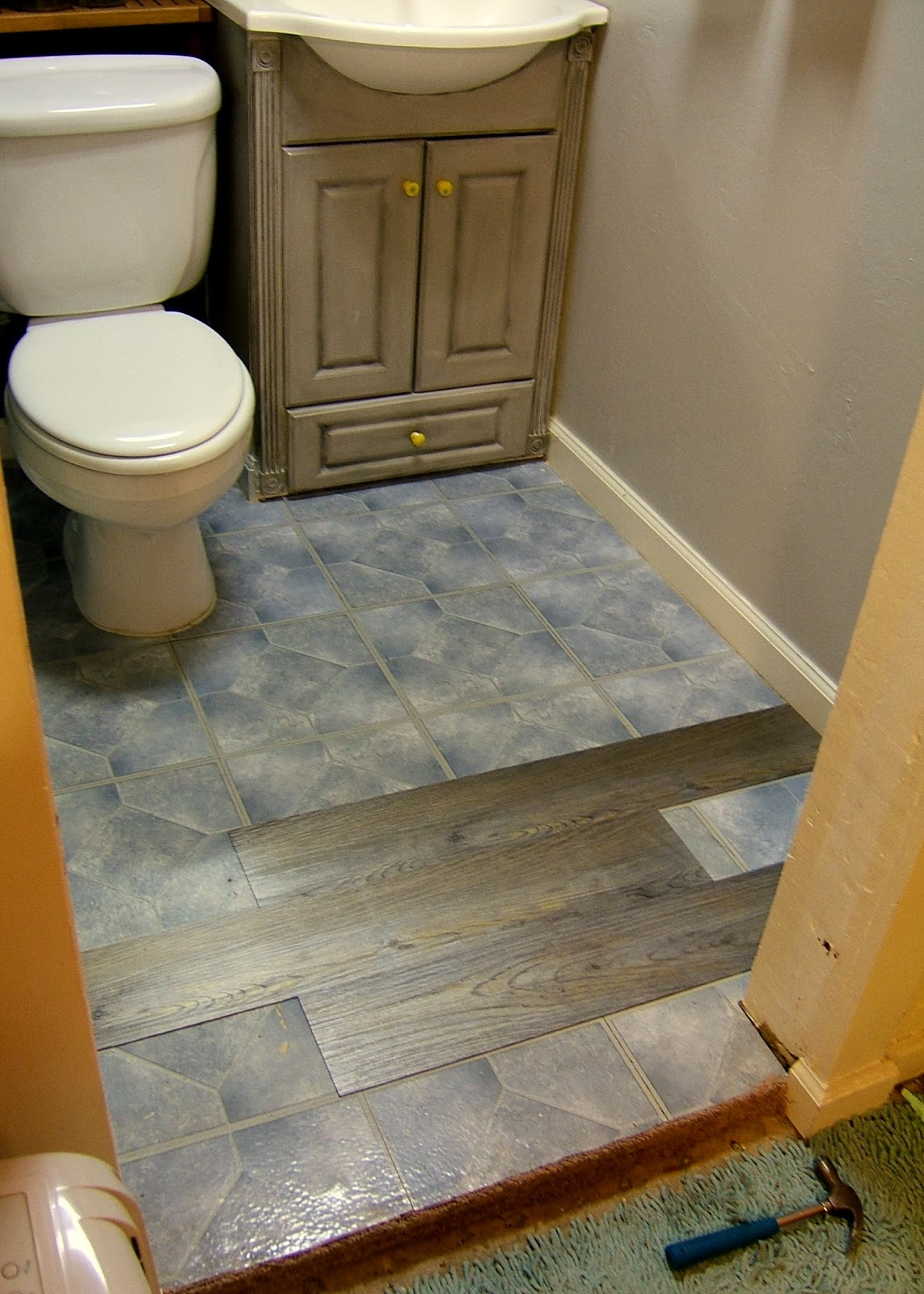 Downstairs bathroom flooring for Stick down linoleum tiles