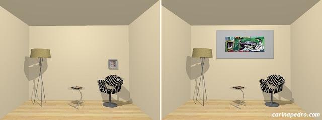 Estudo de Carina Pedro sobre erros comuns no posicionamento de quadros e artes na parede