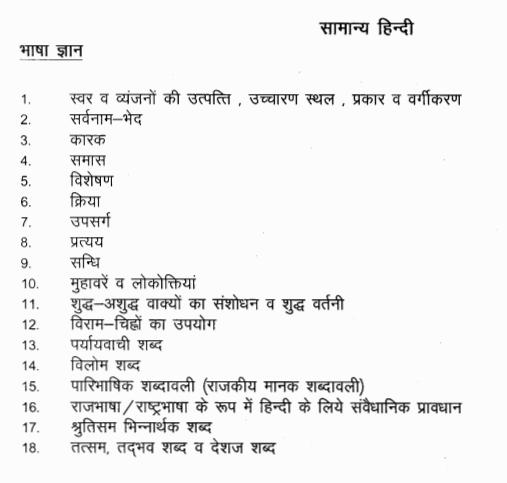 MP patwari General Hindi syllabus
