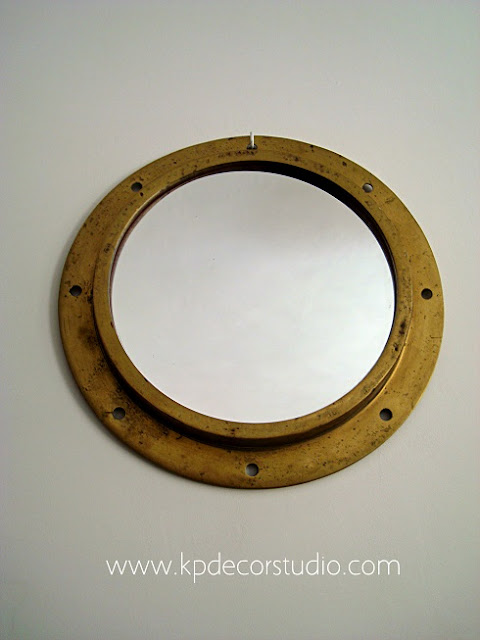 Espejos vintage. Objetos de barco para decoración. Espejo de latón y bronce