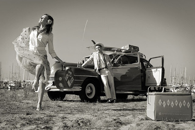 Vintage car and girl by Dmitry Popov