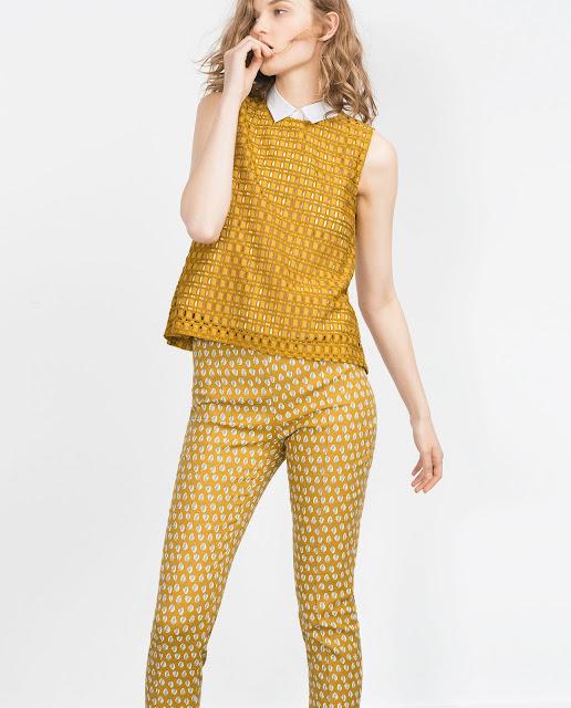 zara mustard top, mustard vest, mustard guipure top, mustard lace top,