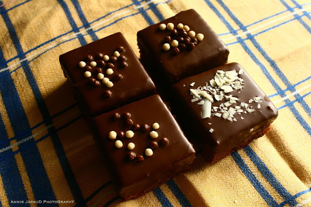 image of four chocolate squares cakes