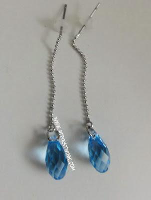handmade swarovski earrings light blue