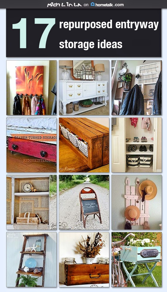 http://www.hometalk.com/b/6013157/17-repurposed-entryway-storage-ideas