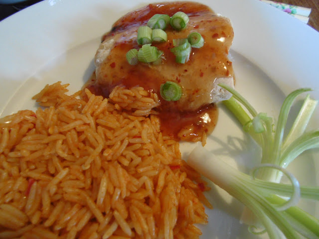 sweet chilli salmon with firecracker rice