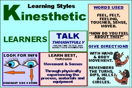 explain kinesthetic learning If you have a strong kinesthetic preference for learning you should use some or all of the following: intake to take in the information: all your senses – sight .