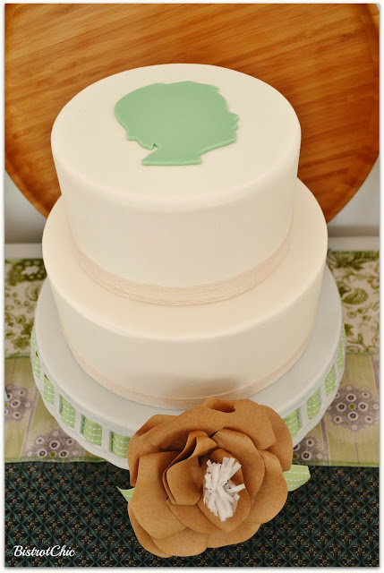 Green Rustic Christening silhouette cake by Bistrotchic