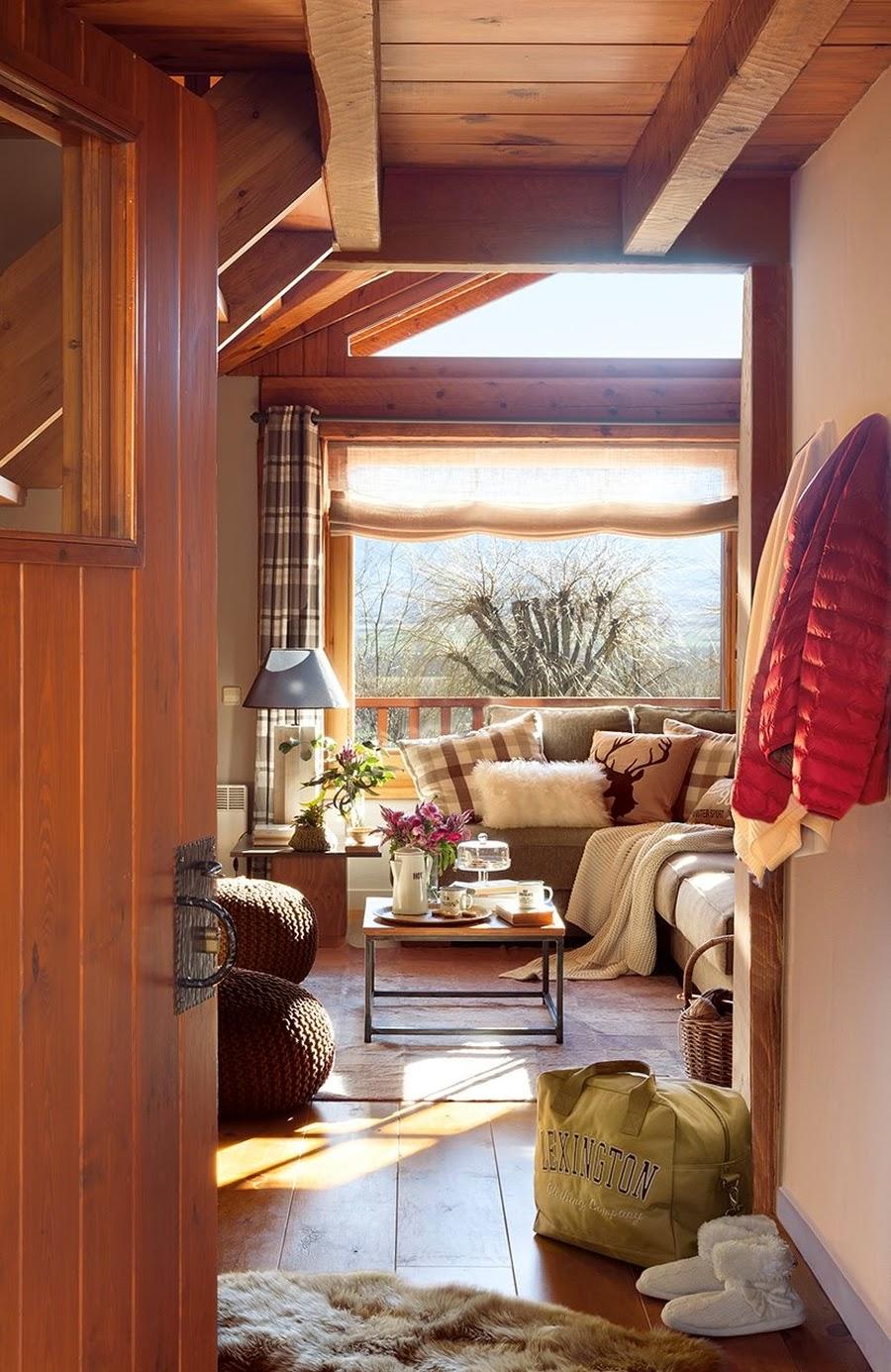 wystrój wnętrz, wnętrza, urządzanie mieszkania, dom, home decor, dekoracje, aranżacje, dom drewniany, domek w górach, chatka, drewniane skosy, drewniane belki