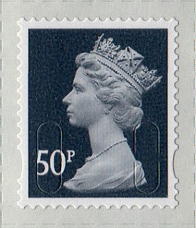 50p slate-grey Machin definitive stamp 2013.