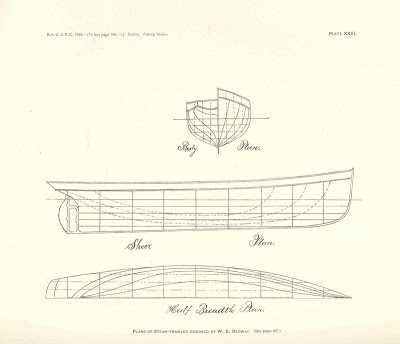 Free ship plan, body, sheer, waterline, plan, 19th Century, Great Lakes, Canada, steam-powered, fishing, trawler
