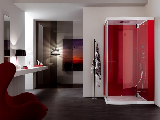 Red Modern Contemporary Bathroom Shower Design