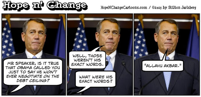 obama, obama jokes, boehner, hope n' change, hope and change, debt ceiling, conservative, tea party, allahu akbar, negotiation