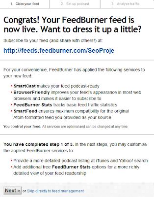 FeedBurner Blog Ekleme ve Besleme Adresi Oluşturma 4