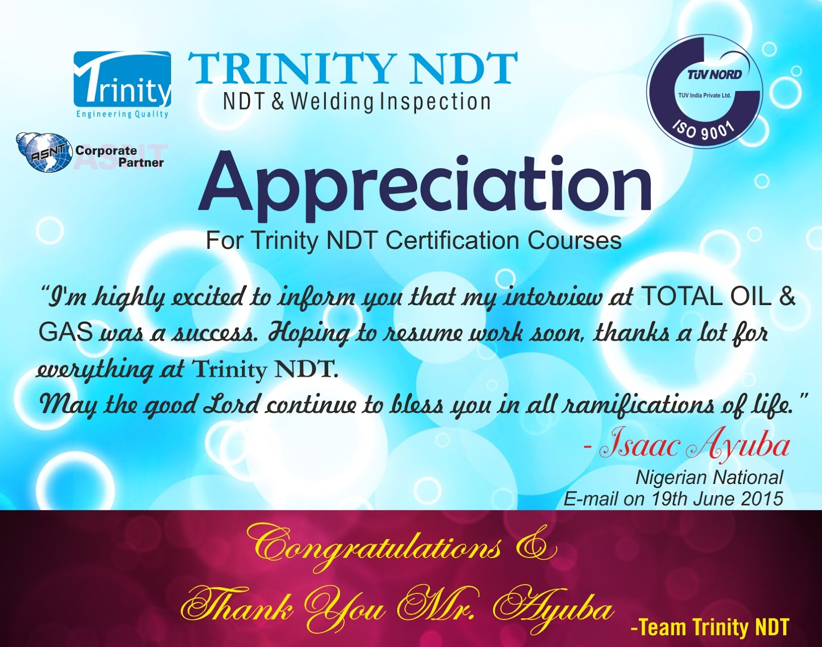 Appreciation for Trinity NDT Courses