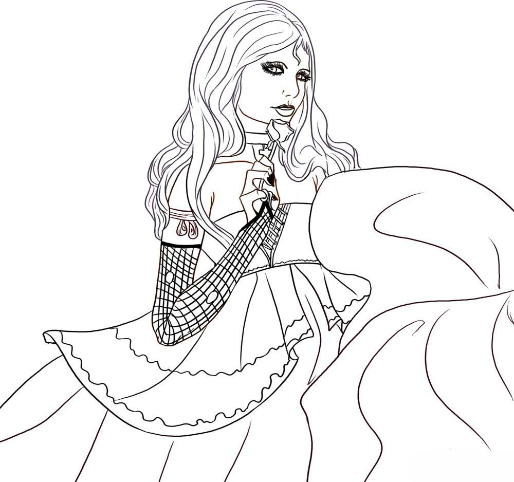 vampire girl coloring pages to printable
