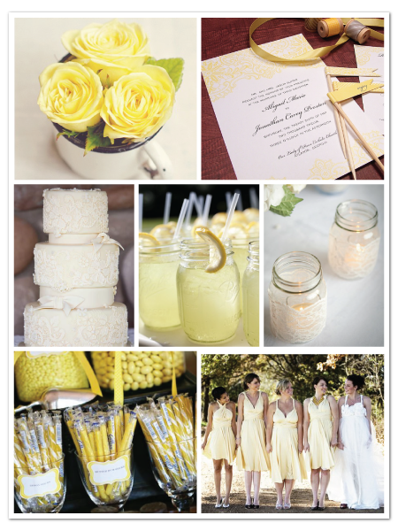 vintage lace yellow wedding inspiration board