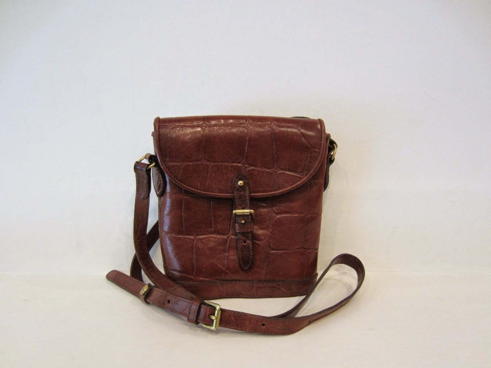 Mulberry Vintage Brown Leather Mock Croc Messenger bag