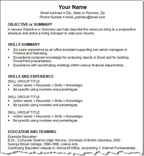 brief resume example