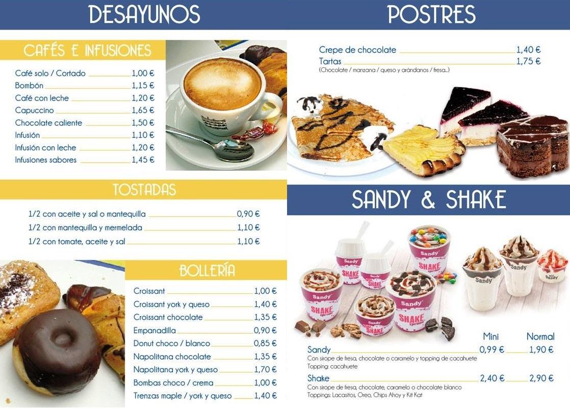 Carta desayunos, postres, sandy y shake