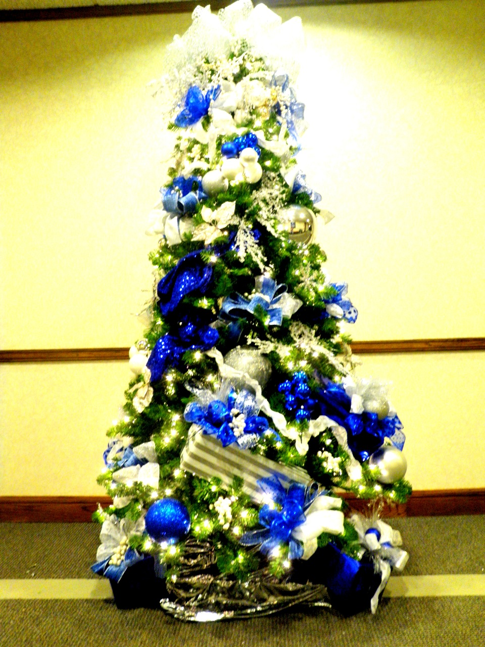 Christmas Tree Blue Silver And