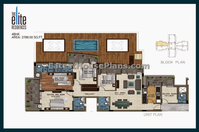 2365 sqft 4 bedroom apartment home floor plan separate for 4 bhk apartment design