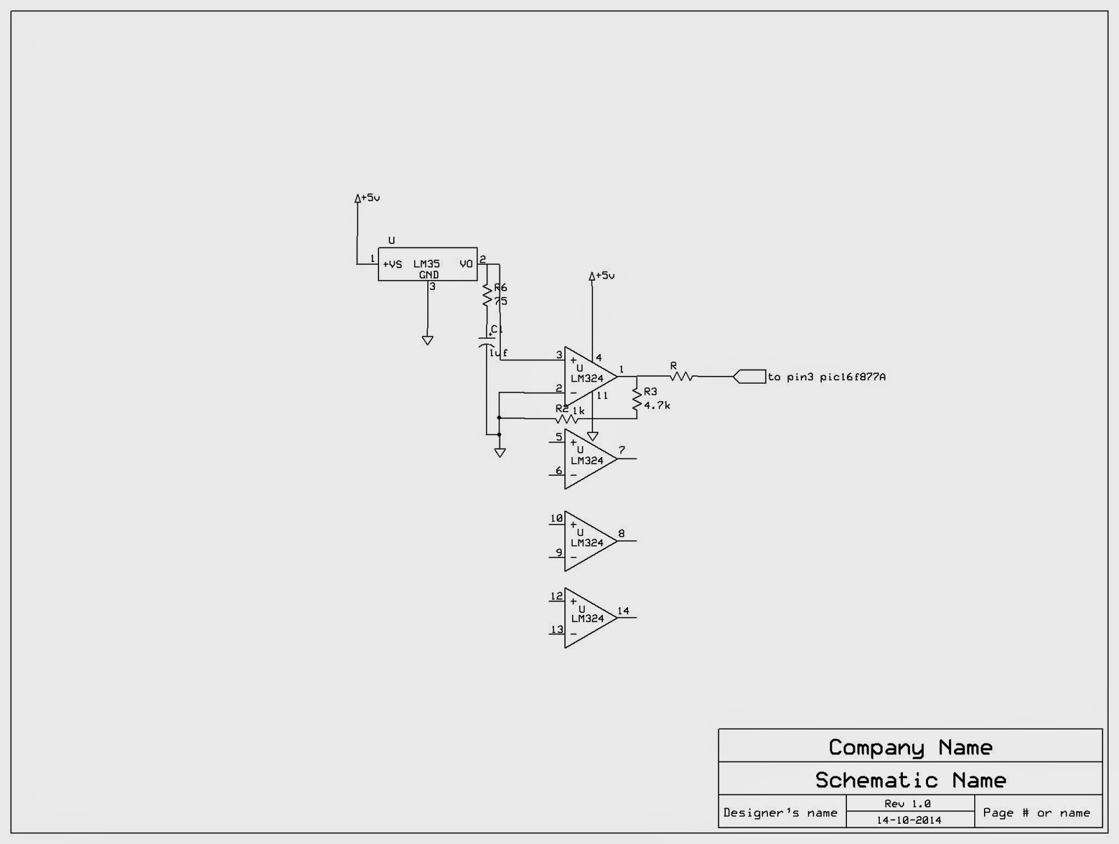 Wireless Temperature Sensing Using Xbee Zigbee Pic16f877a Projects Circuit Diagram Of Module I Have Designed An Amplifier With Gain Approx 6 The Lm324 Based Sensor Circuitry Is As Below