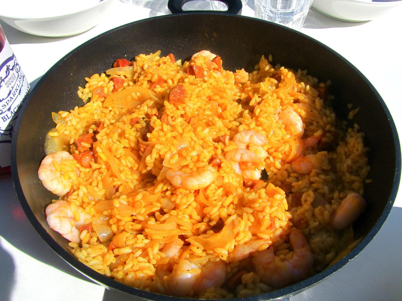 good food and red shoes spanish rice with prawns and chorizo. Black Bedroom Furniture Sets. Home Design Ideas