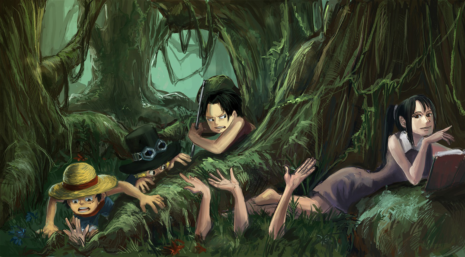 One Piece Luffy Sabo Ace Nico Robin Anime Multiple Arms Book Forest HD Wallpaper Desktop Background