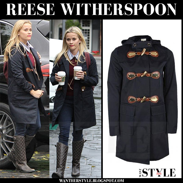 Reese Witherspoon in navy duffle coat michael kors what she wore streetstyle