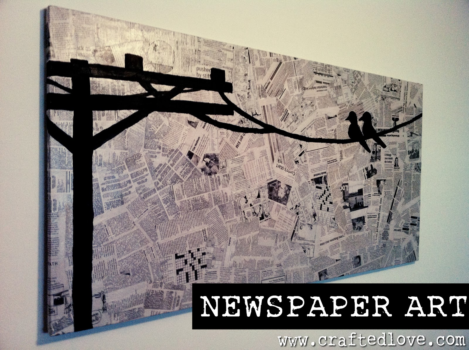 Diy newspaper art allison affourtit for Art and craft for wall decoration