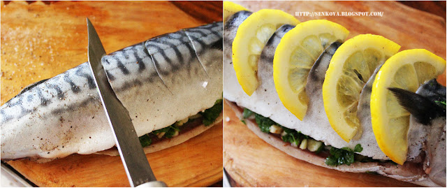 Скумбрия, запеченная с лимоном и зеленью
