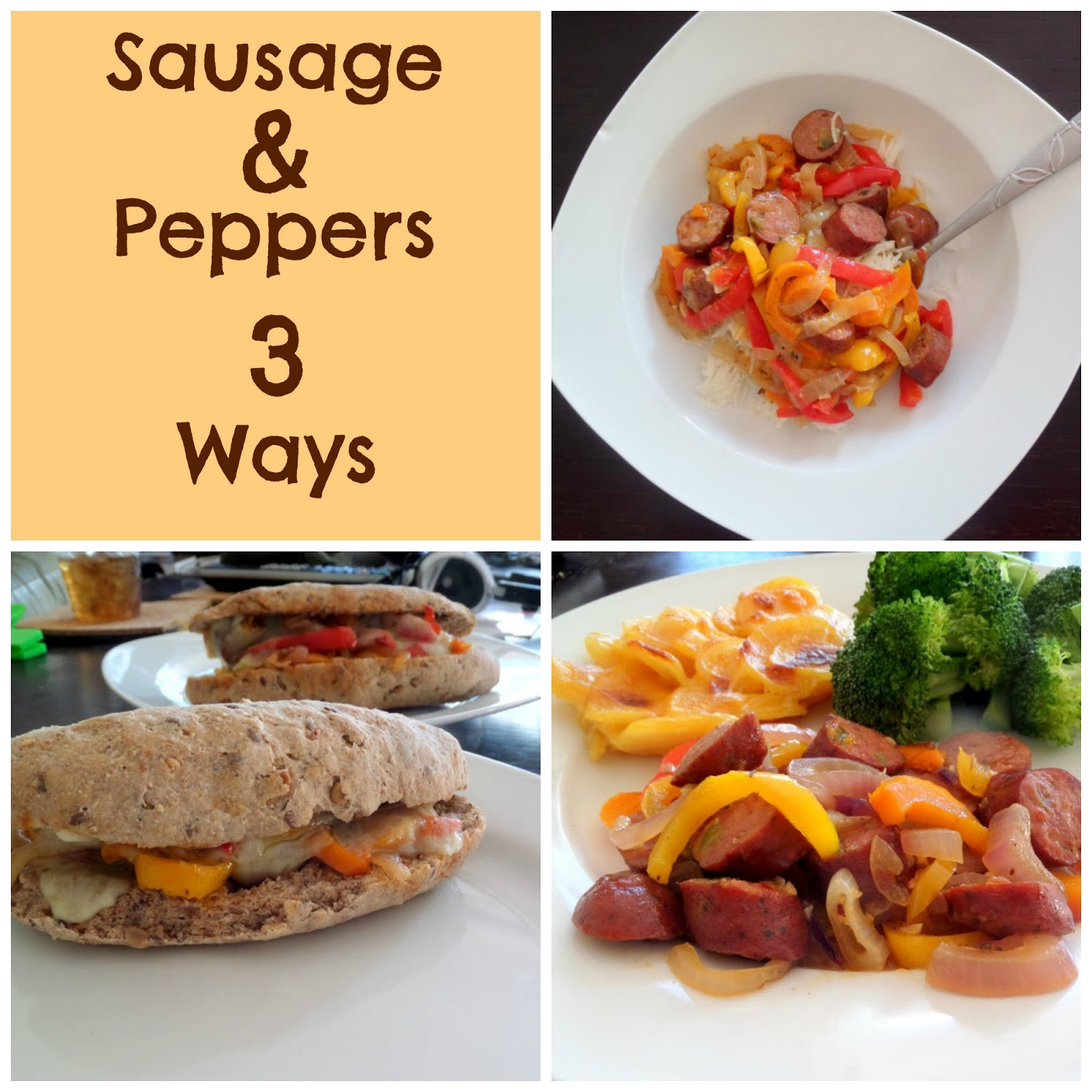 Easy Sausage and Peppers (3 Ways):  An easy one pot dish of sausage, peppers, and onions that can be served 3 different ways for 3 separate meals.