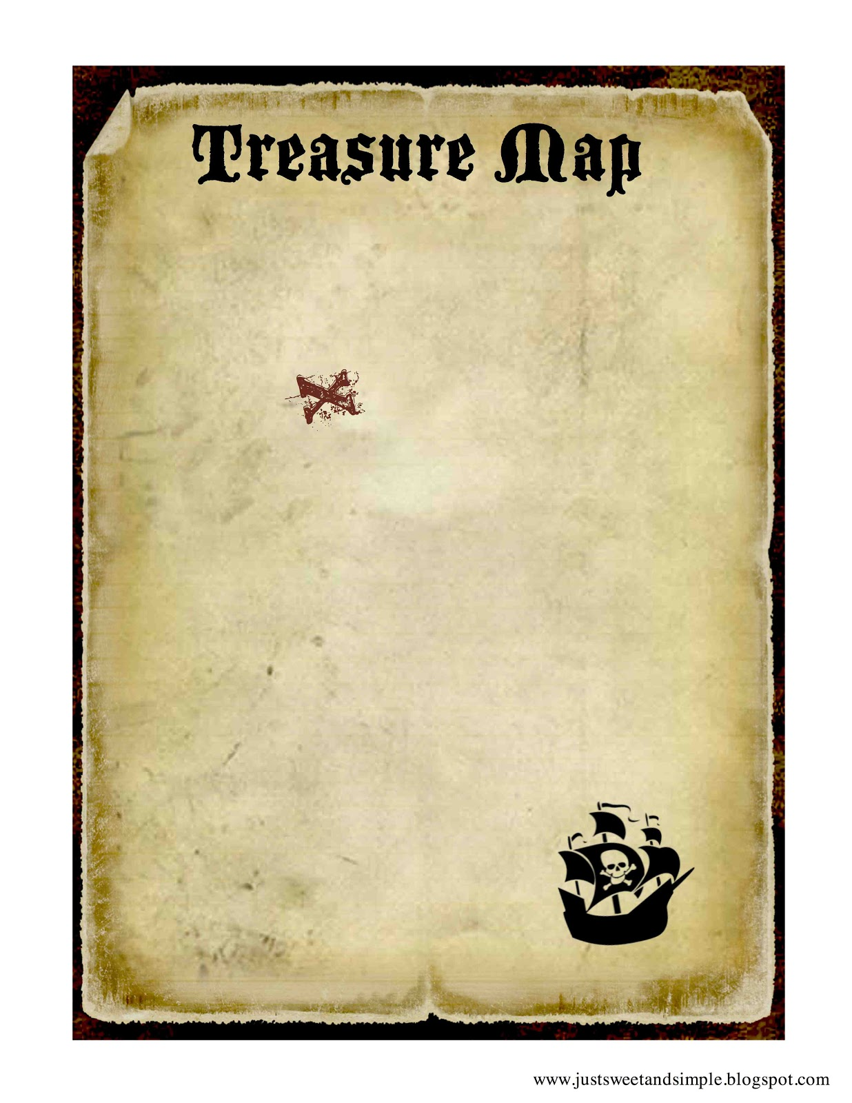 Clean image with free printable pirate treasure map