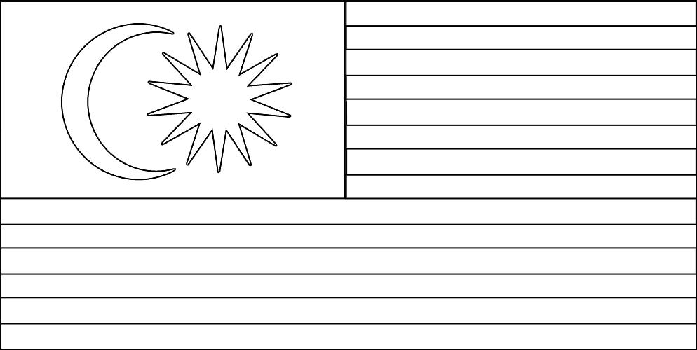 Jalur Gemilang Bendera Malaysia Gambar Mewarna
