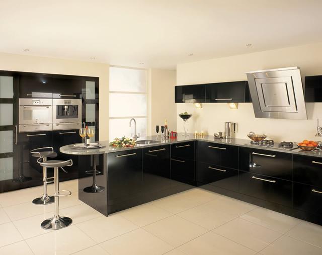 Construindo minha casa clean cozinha em laca ou mdf for Black high gloss kitchen ideas