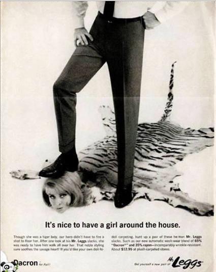 Propaganda das Calças Dracon com cunho machista. Veiculada nos anos 60 nos Estados Unidos.