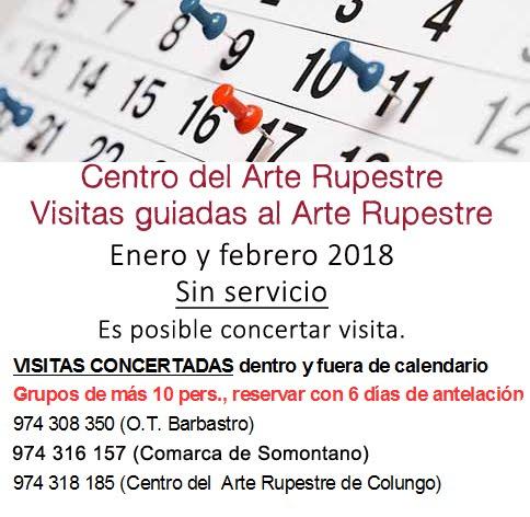 INVIERNO 2018. HORARIOS DEL ARTE RUPESTRE