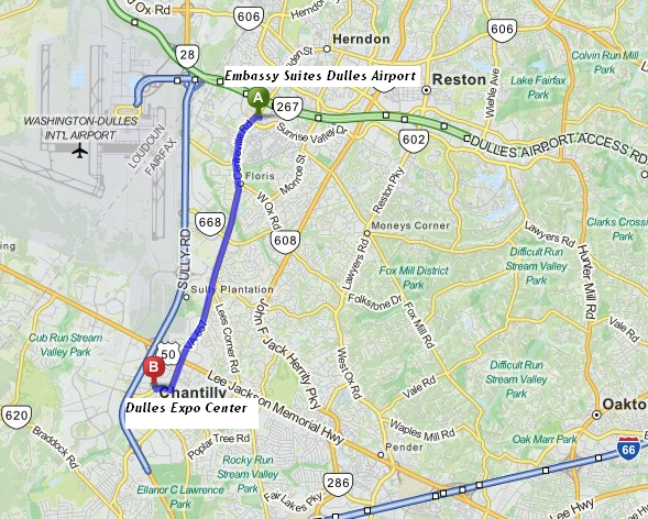 Embassy Suites Dulles Airport is 5 miles/10 minutes from Dulles Expo Center