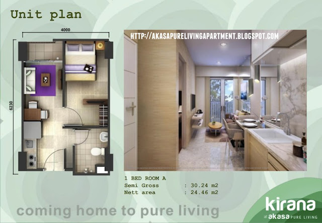 Tipe 1 BR-A Akasa Pure Living BSD Apartment Tower Kirana