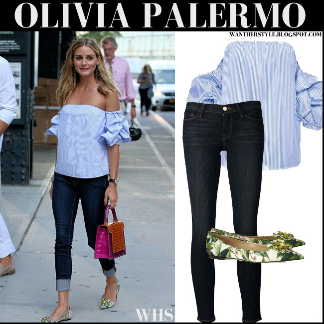 Olivia Palermo in blue striped off the shoulder Johanna Ortiz top, dark blue skinny Frame Denim jeans, green floral flats and pink orange croc tote what she wore august 12