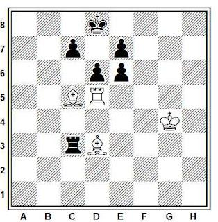 Estudio artístico de ajedrez compuesto por V.A. Korolkov (K. V. Komit. F. y S., 1954)
