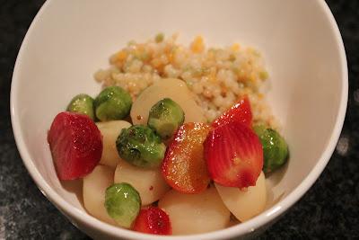 Maple-glazed baby vegetables