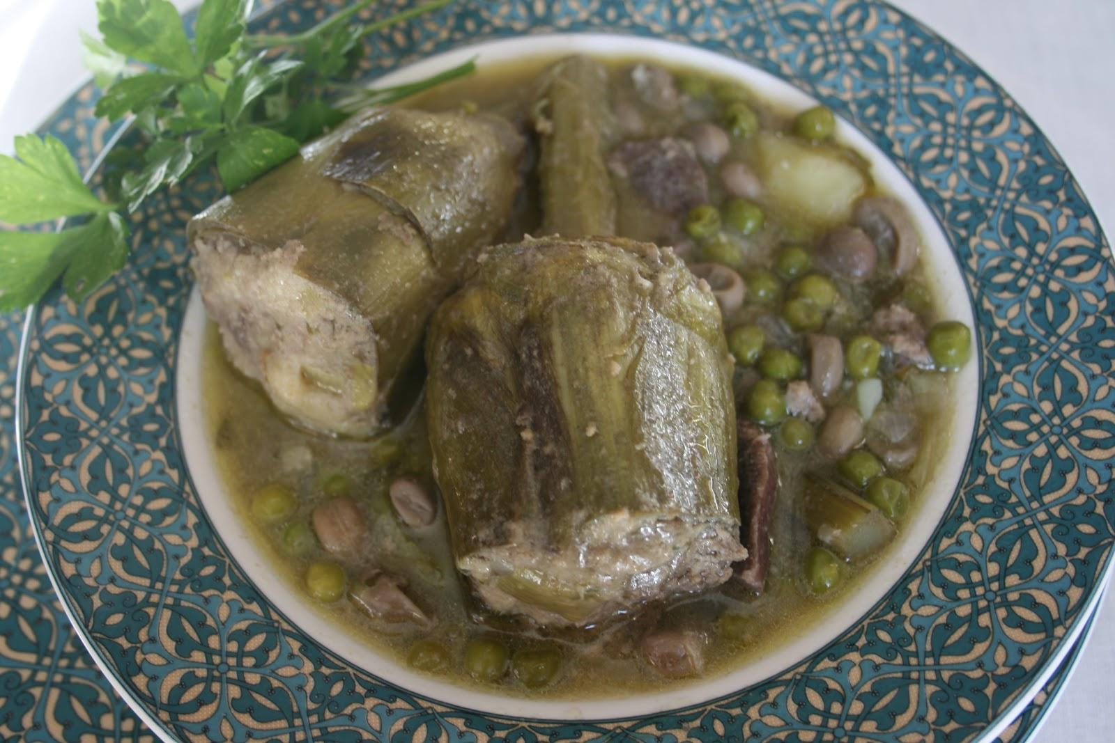 Aprendiendo a cocinar guiso de alcachofas rellenas con for Cocinar alcachofas