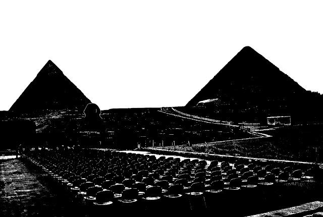 silhouette of Giza pyramids